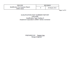 Document 2M801 Qualification Test Summary Report