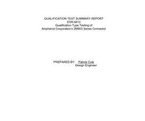 Document 2M803 Qualification Test Summary Report