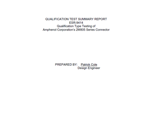 Document 2M805 Qualification Test Summary Report