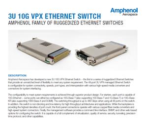 Document 3U 10G VPX Ethernet Switch Data Sheet